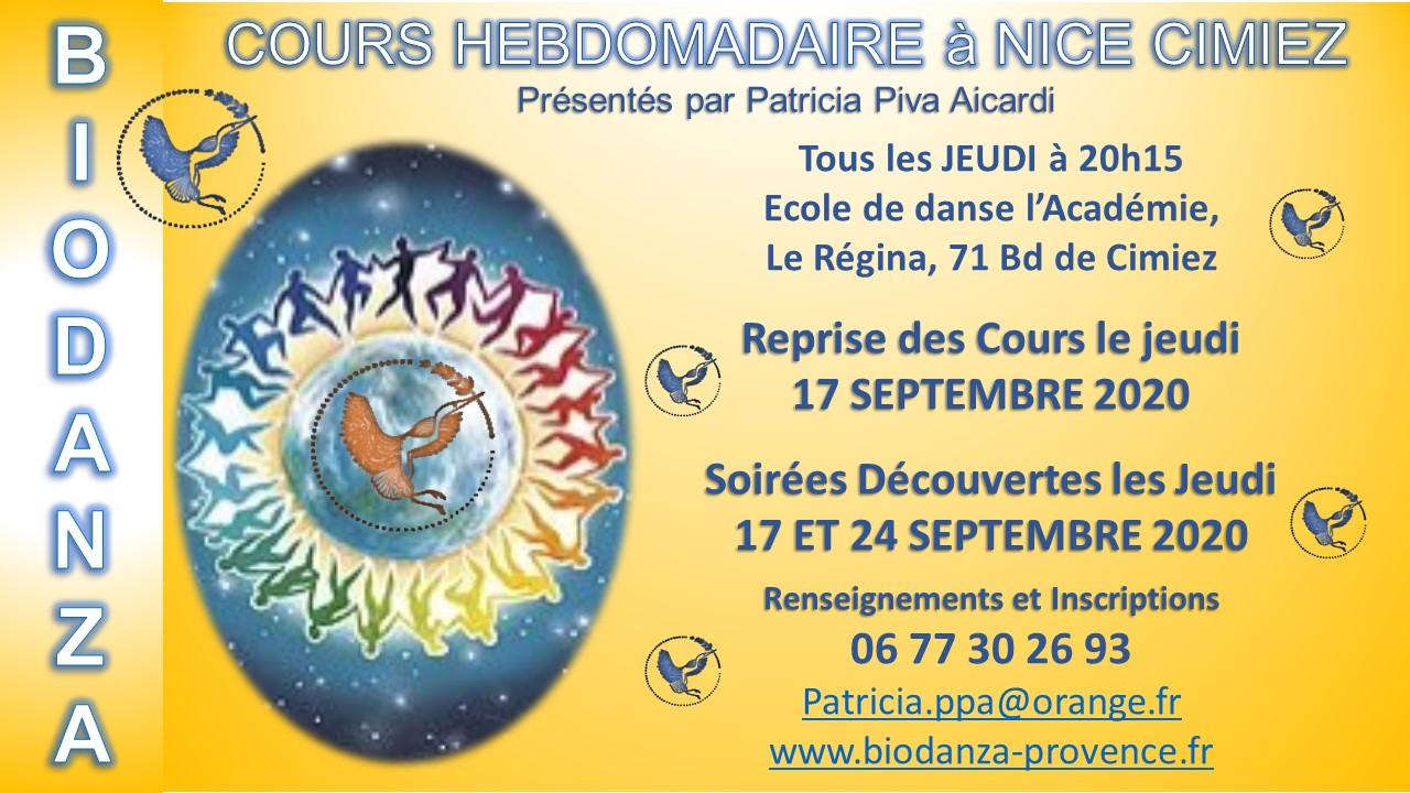 Biodanza cours hebdo à Nice Cimiez